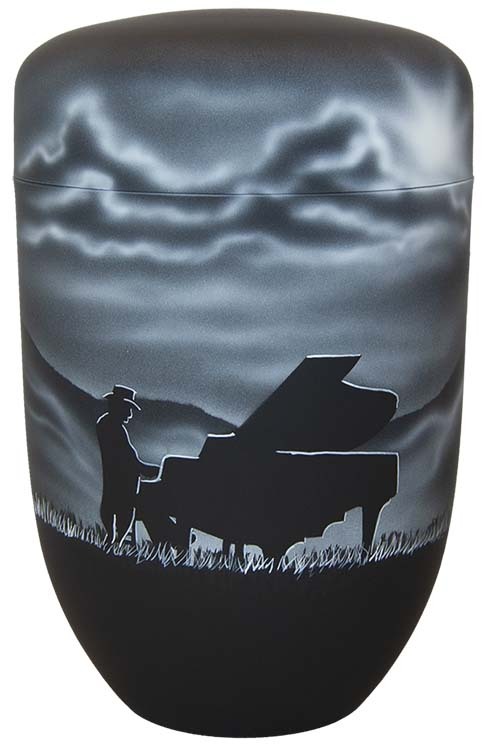 Zwartwitte Schaduw Design Urn Pianist (4 liter)