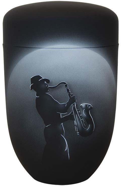 Zwartwitte Schaduw Design Urn Saxofonist (4 liter)