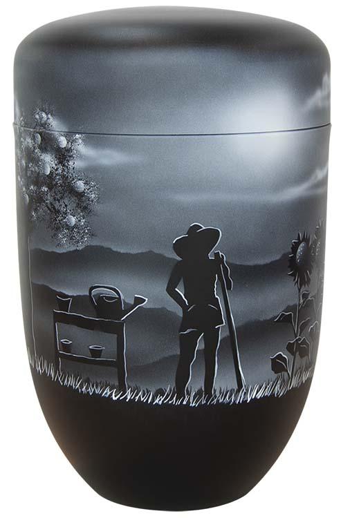 Zwartwitte Design Urn Tuinman Tuinvrouw (4 liter)