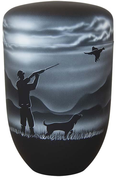 Zwartwitte schaduw Design Urn Jager met Hond (4 liter)