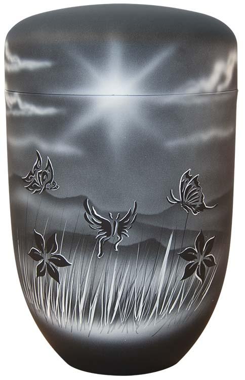 Zwartwitte Schaduw Design Urn Vlinders (4 liter)