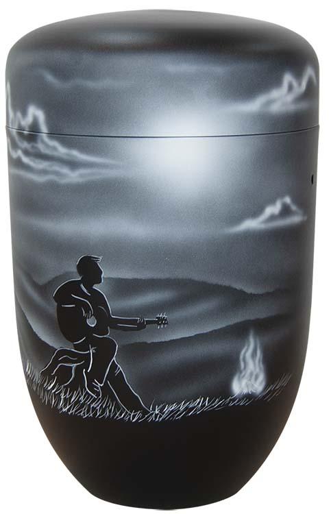 Zwartwitte Design Urn Gitarist bij Kampvuur (4 liter)