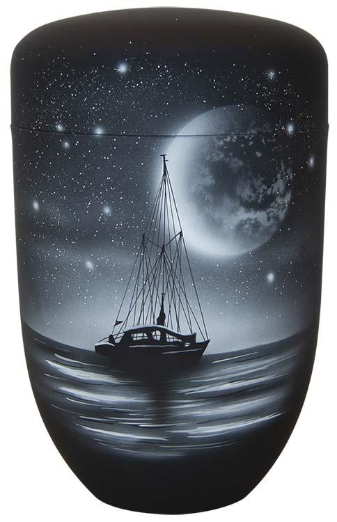 Zwartwitte Design Urn Zeilboot bij Maanlicht (4 liter)