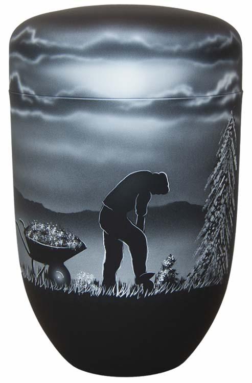 Zwartwitte Schaduw Design Urn Boer of Tuinder (4 liter)