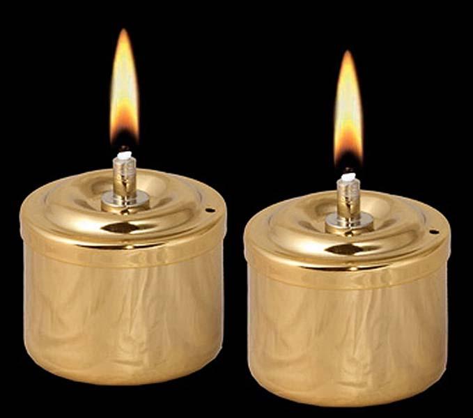 Twee Gouden RVS Olielampjes