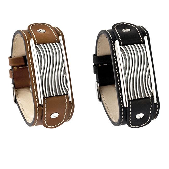 Kalfsleder Heren Armband met Zilveren Asruimte Wave