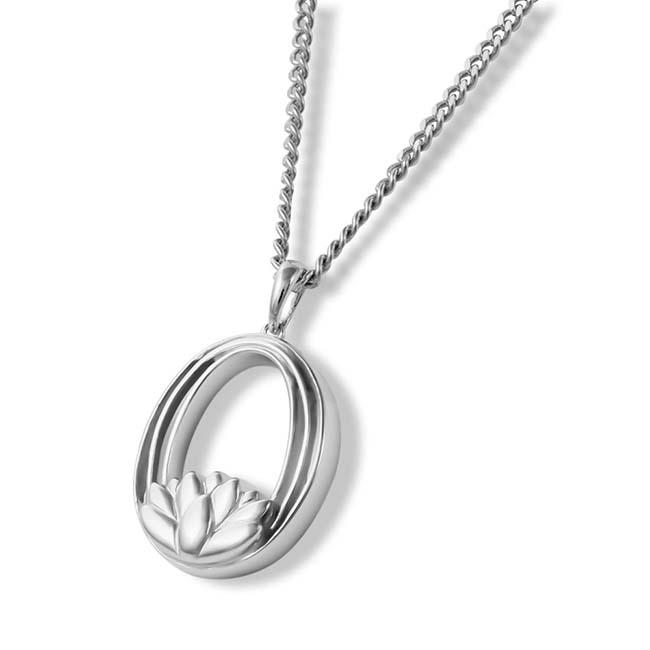 Zilveren Aurora Ashanger Ovale Ring met Lotusbloem