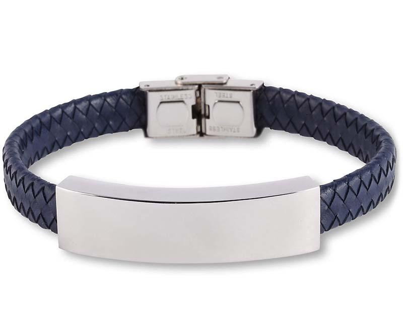 Blauw Lederen Aurora Armband met RVS Asruimte