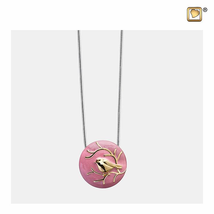 Verguld Zilveren Roze Ashanger Musje, inclusief Collier