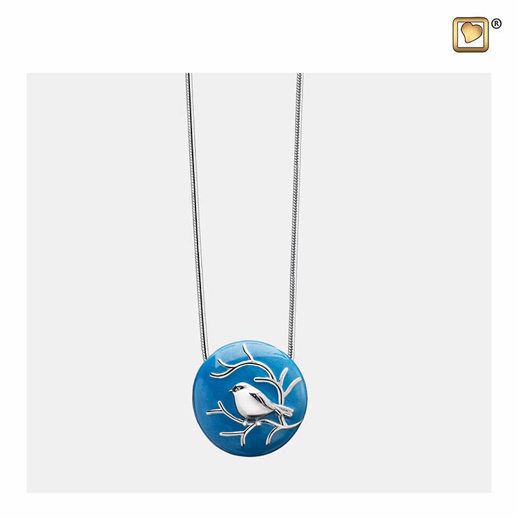 Zilveren Blauwe Ashanger Musje, inclusief Collier