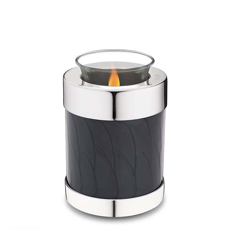Urn met Waxinelichtje Gemarmerd Zwart (0.45 liter)