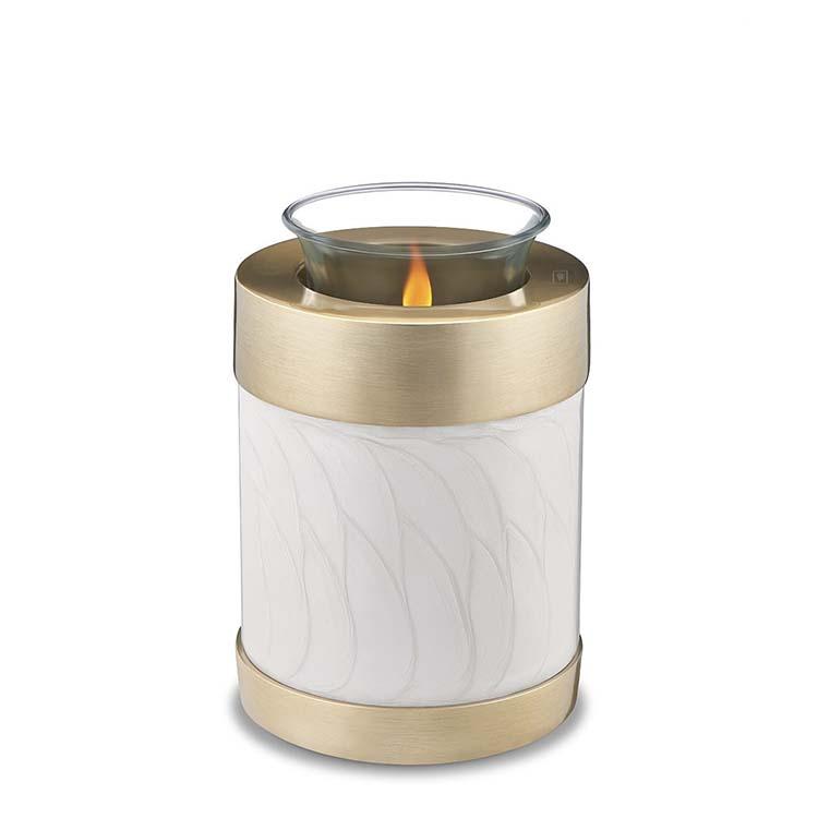 Urn met Waxinelichtje Gemarmerd Wit, Messing Randen (0.45 liter)