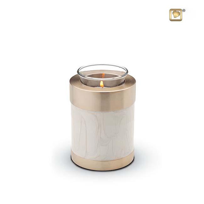 Dierenurn met Waxinelichtje Gemarmerd Wit (0.3 liter)