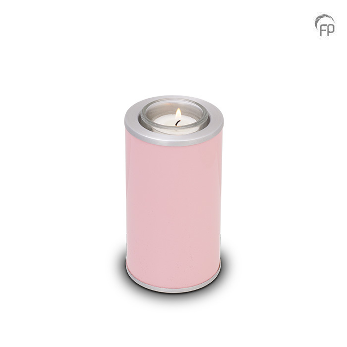 Urn met Waxinelichtje Roze - Matzilver Sieranden (0.4 liter)