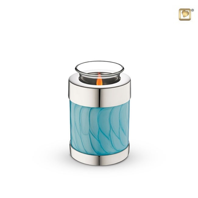 Dierenurn met Waxinelichtje Gemarmerd Blauw (0.3 liter)