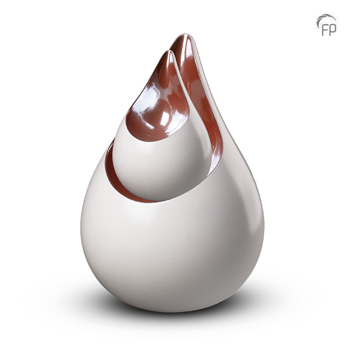 Grote Keramische Celest Dierenurn Parelwit - Bruin (3.5 liter)
