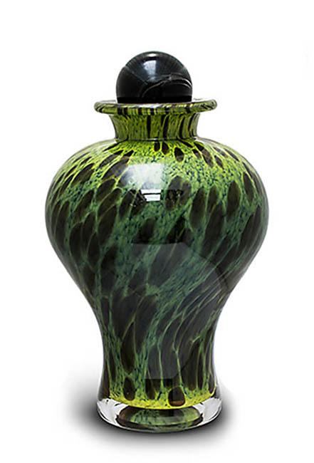 Grote Glazen Urn Groen-Zwart (3.5 liter)