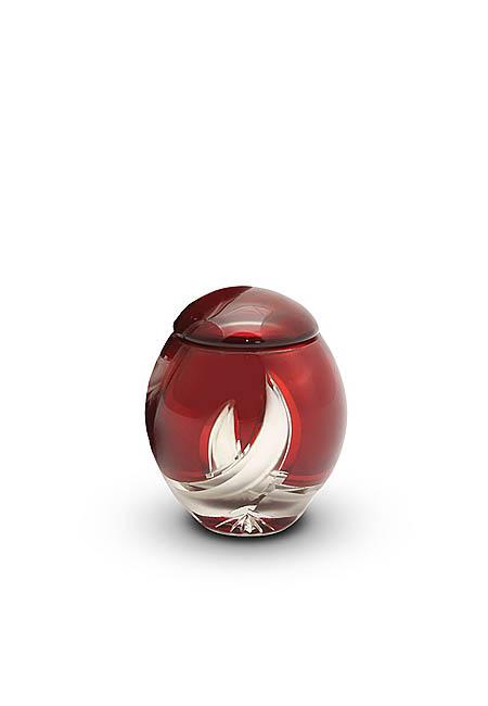Mini Glazen Urn Rood-Zilver (0.15 liter)