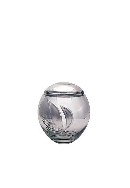 Mini Glazen Urn Zilver (0.15 liter)