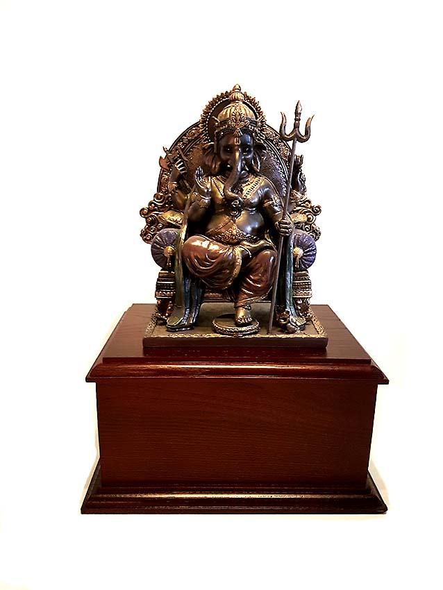 Bronzen Dierenurn Ganesh Beeld op Hardhouten As-sokkel (2.4 of 3 liter)