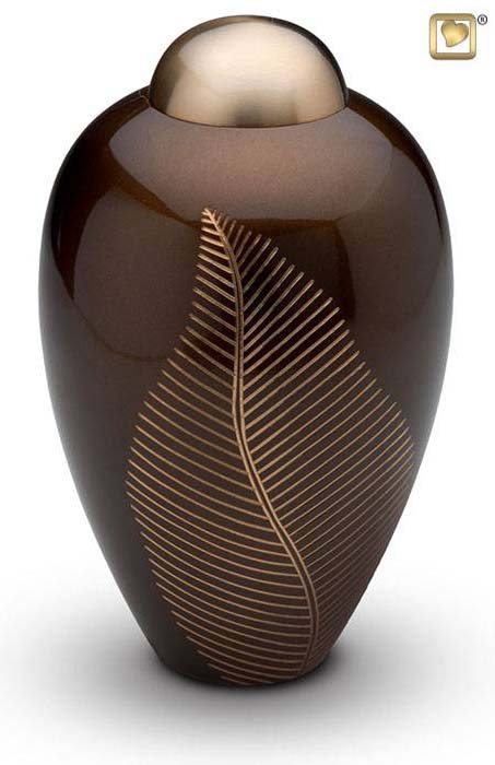 Grote Messing Urn Golden Brown Feather (3.3 liter)