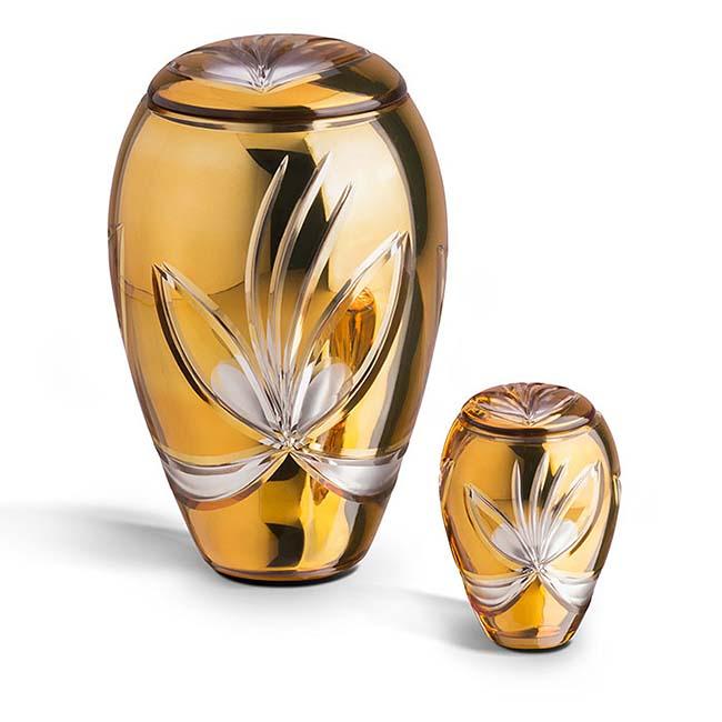 Grote Boheems Kristalglazen Urn Oranje (3.5 liter)