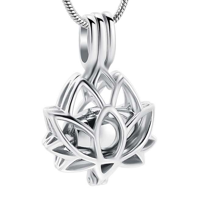 Ashanger Lotusbloem Zilveren Micro Urntje, incl. Slangencollier