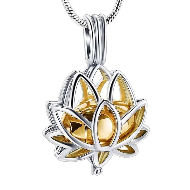 Ashanger Lotusbloem Gouden Micro Urntje, incl. Slangencollier