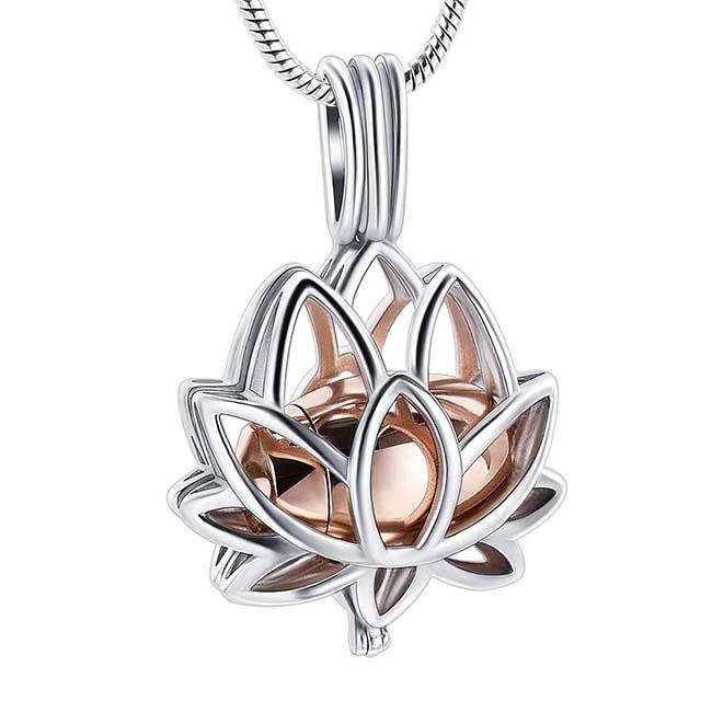 Ashanger Lotusbloem Rozegouden Micro Urntje, incl. Slangencollier