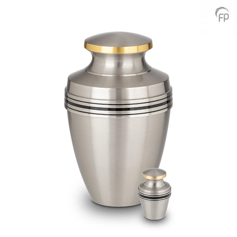 Mini Urn Matzilver Zwarte en Messing Sierbanden (0.05 liter)