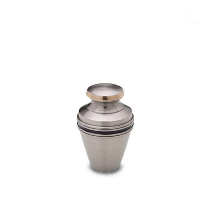 Mini Dierenurn Matzilver, Zwart - Messing Sierband (0.05 liter)