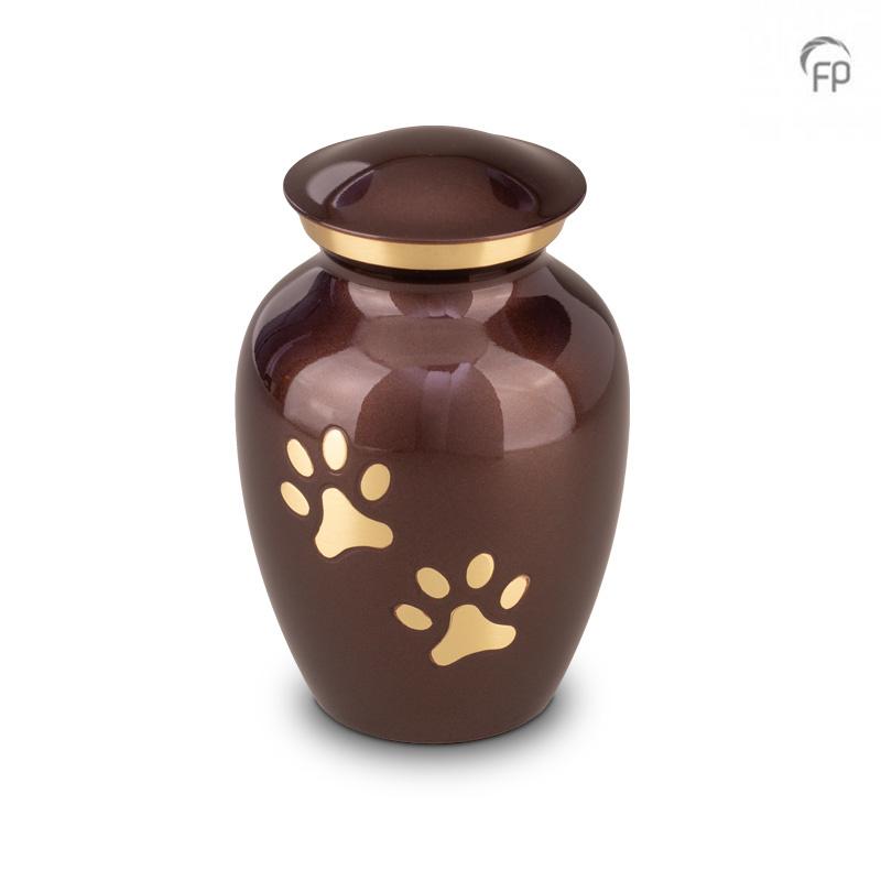 Grote Dierenurn Bruin, Messing Pootafdrukjes (1.4 liter)
