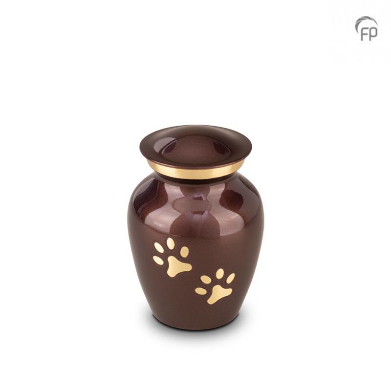 Kleine Dierenurn Bruin, Messing Pootafdrukjes (0.45 liter)