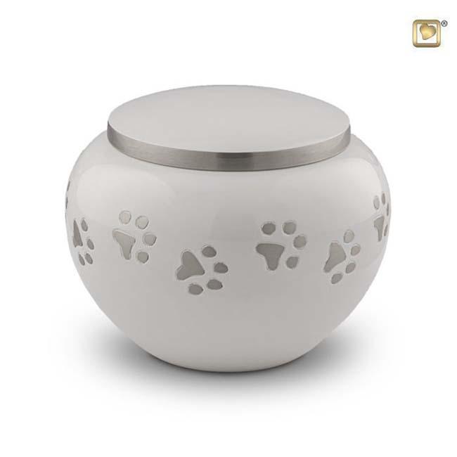 Grote Dierenurn Zilveren Pootafdrukjes Wit (1.5 liter)