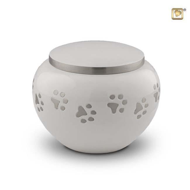 Mediumgrote Dierenurn Zilveren Pootafdrukjes Wit (1 liter)