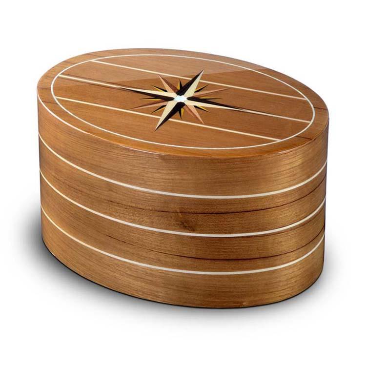 Ovalen Urn Roma Windroos Teak (7.4 liter)