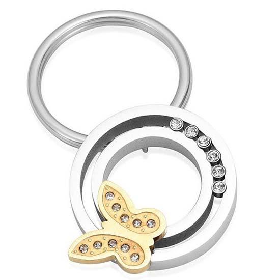 As-sleutelhanger Dieren Cirkel, Zirkonia en Vlinder, Zilver