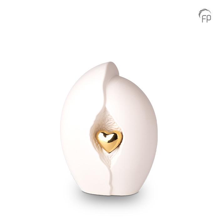 Kleine Keramische Urn Wit - Gouden Hart (2.2 liter)