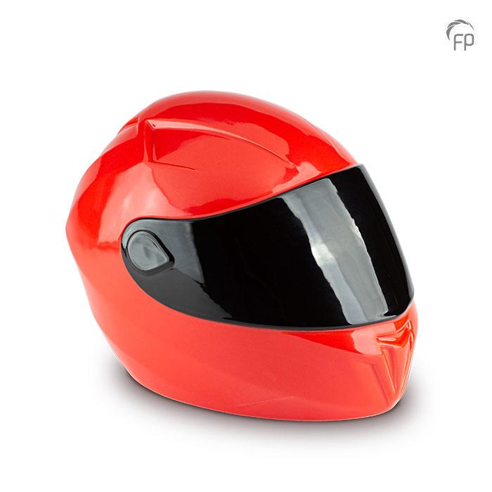 Grote Rode Keramische Motorhelm Urn (5 liter)