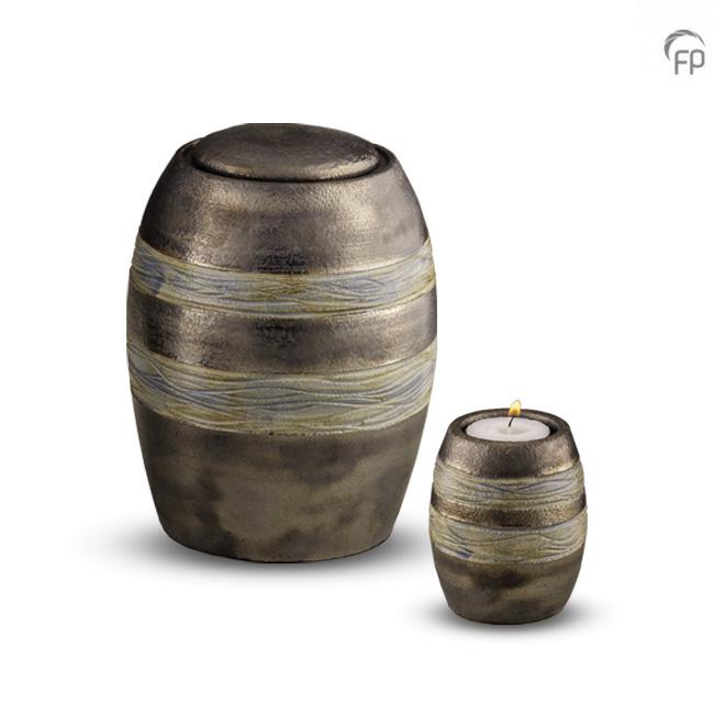 Keramische Miniurn met Waxinelichtje Bruin-Grijs (0.1 liter)