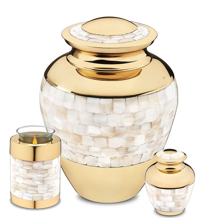Grote Messing Urn Shiny Gold - Parelmoer (3.4 liter)