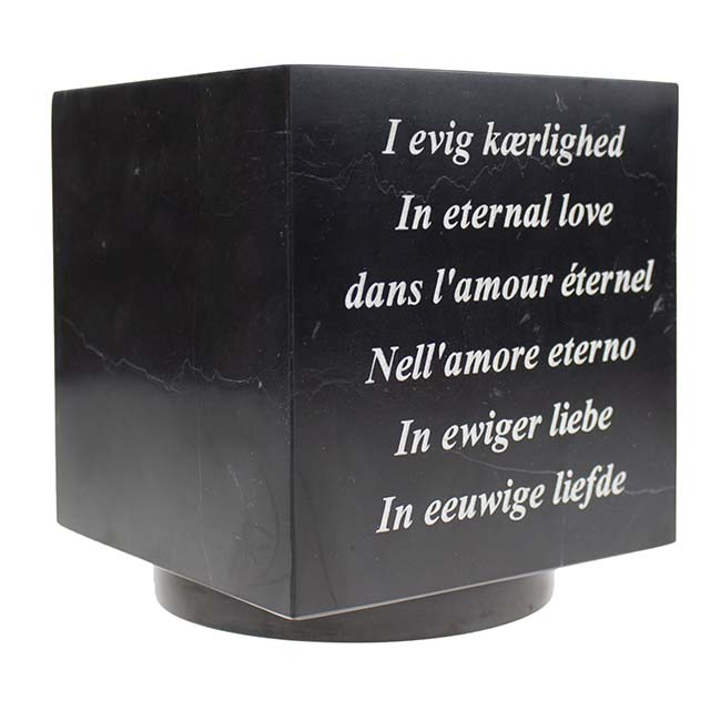 Laser Tekstgravure op Marmer Cubos Urn of Miniurn