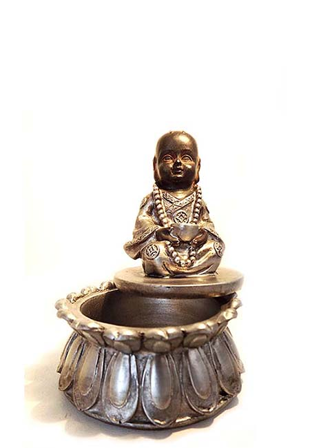 Mini Buddha Urn Zittende Kind-monnik op Lotus Asbox (0.05 liter)