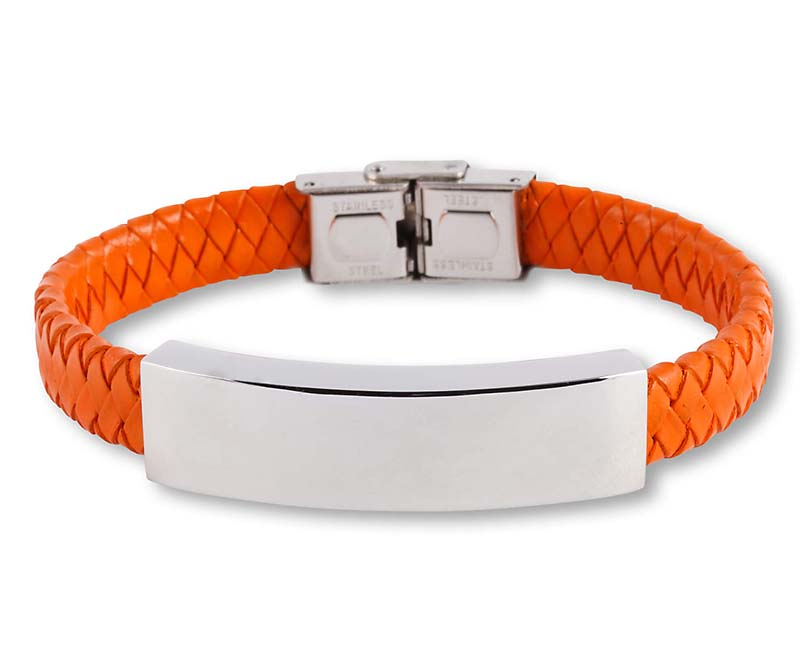 Oranje Lederen Aurora Armband met RVS Asruimte