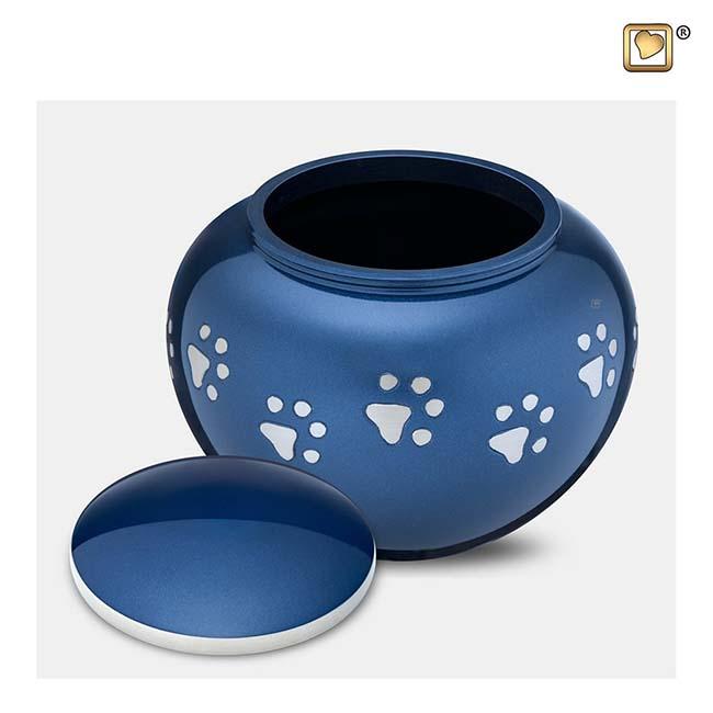 Mediumgrote Dierenurn Zilveren Pootafdrukjes Blauw (0.75 liter)