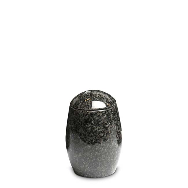 Granieten Miniurn Vaas, Ovaal met Deksel - Jasberg (0.11 liter)