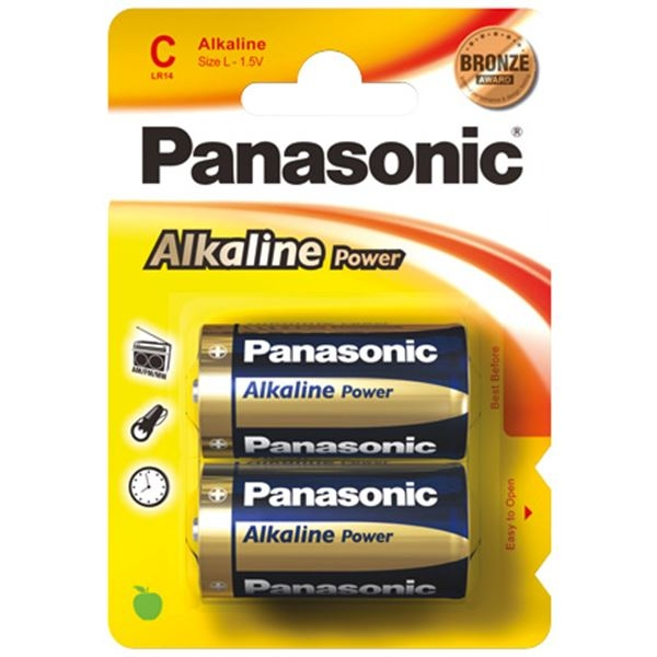2 Panasonic Alkaline Power C Batterijen