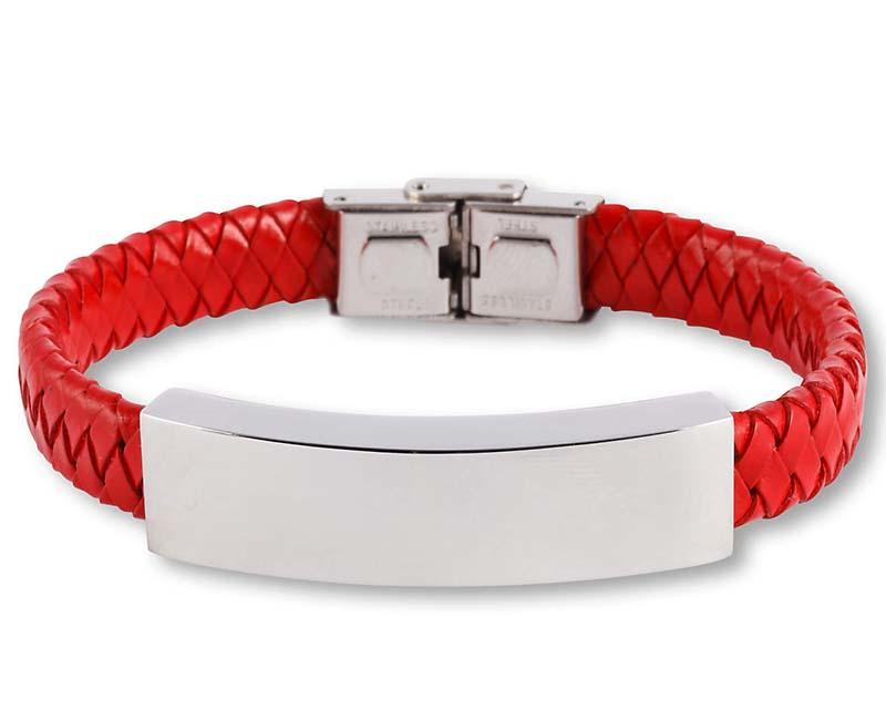 Rood Lederen Aurora Armband met RVS Asruimte
