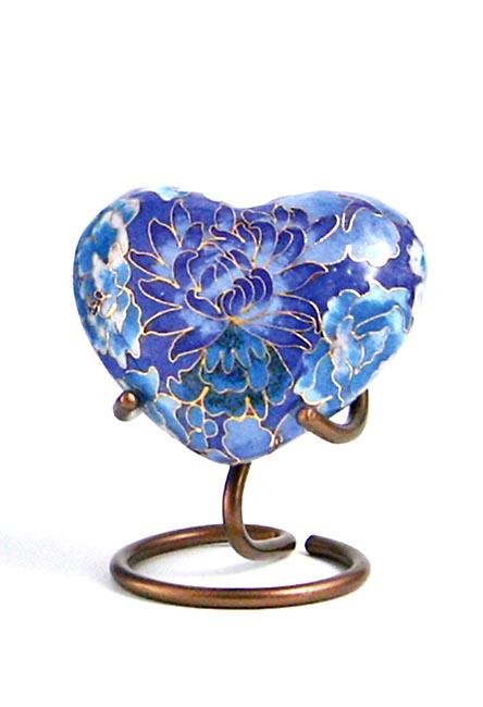 Elite Floral Blue Cloisonne Hart Urn (0.11 liter)