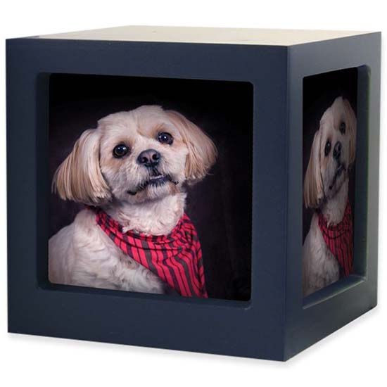 Medium Houten Photocube Dierenurn Navy (1.5 liter)